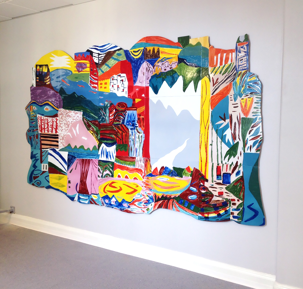 Marie Dahlstrand, Distant Dream, 2016, enamel painting on metal, 210 x 340 cm (82.7 x 133.8 inches), Elsa Brändström School, Linköping.