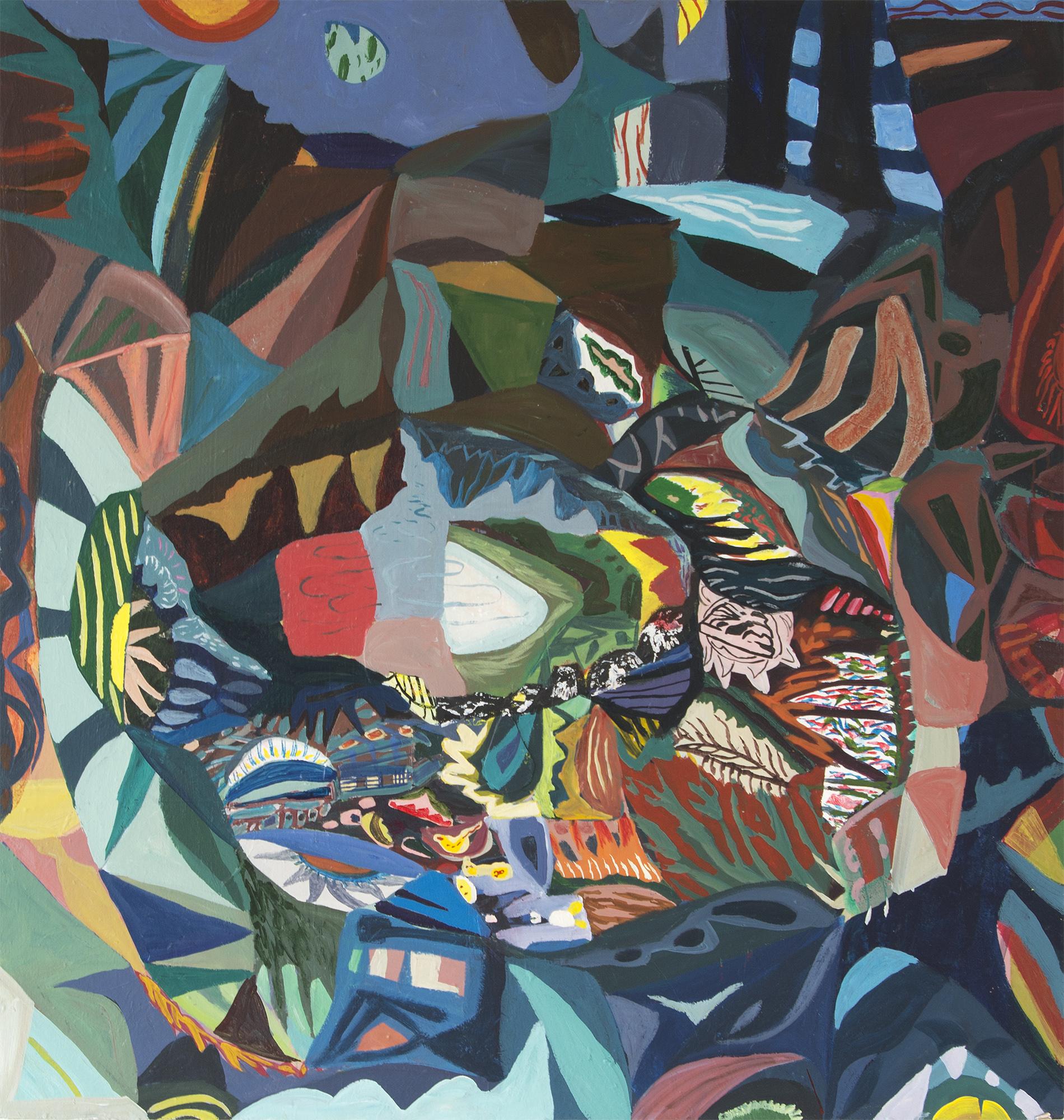 Marie Dahlstrand, Underground, 2016, acrylic, oil on mdf, 105 x 100 cm (41.3 x 39.4 inches).
