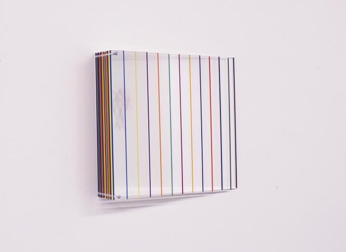 Mikael Fagerlund, Coloured energy, vinyl acrylic glass, 35 x 35 x 10 cm