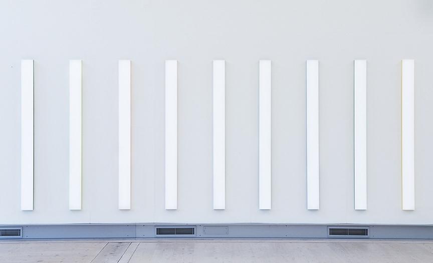Mikael Fagerlund, White coloured stripes, vinyl acrylic glas, 190 x 570 x 4 cm