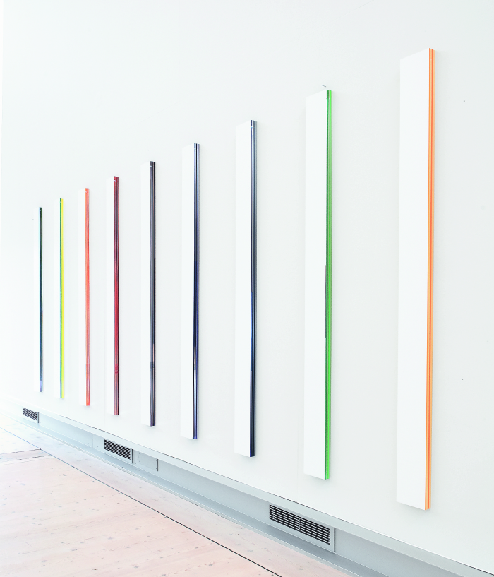 Mikael Fagerlund, White coloured stripes, vinyl acrylic glass, 190 x 570 x 4 cm