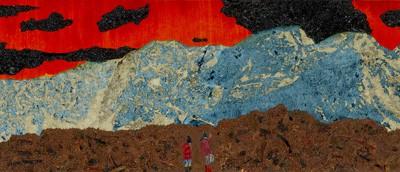 Dog Moon, 2012, olja på duk 35x200 cm