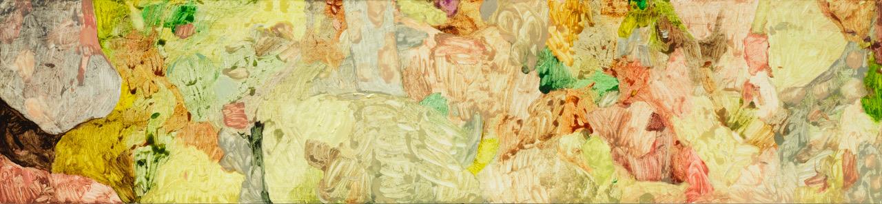 Roger Metto, 756, 2017, oil on panel, 30 x 130 cm