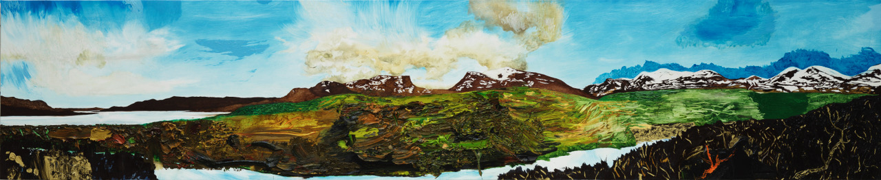 Roger Metto, Ouverture, 2017, oil on canvas, 50 x 243 cm