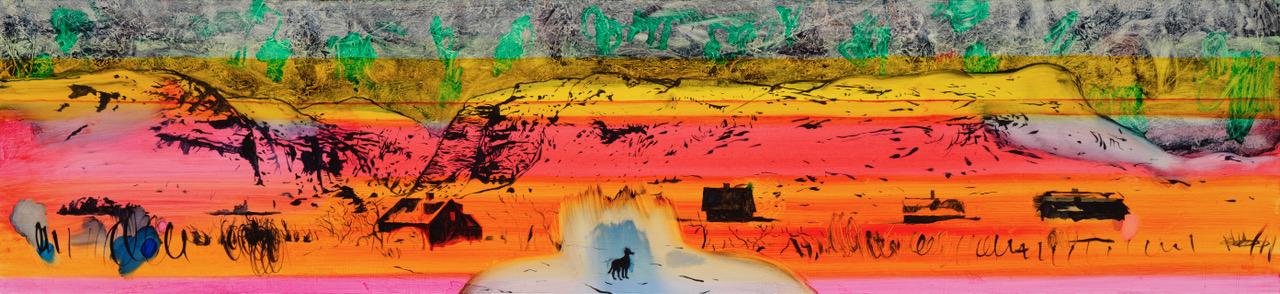 Roger Metto, Vassijaure, 2017, oil on canvas, 50 x 130 cm