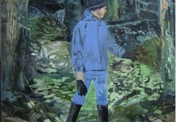 J i skogen, 2010, akryl på duk 100x90 cm