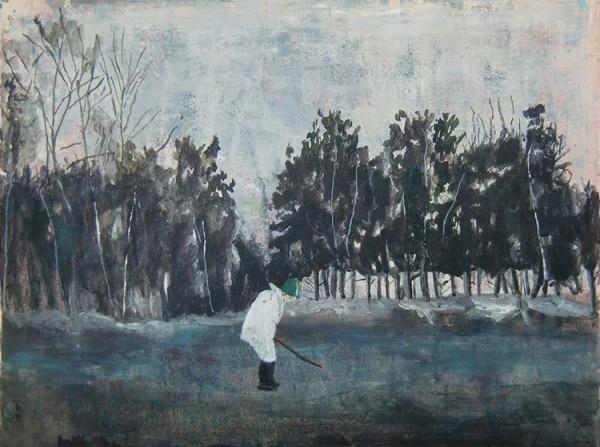 Helmtrud Nyström, Jordande, 2012, acrylic on paper, 50 x 65 cm