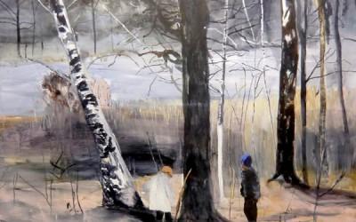 Vårflod, 2012, akryl på duk 95x95 cm