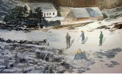 Vinterlekar, 2010, olja på duk 115x145 cm