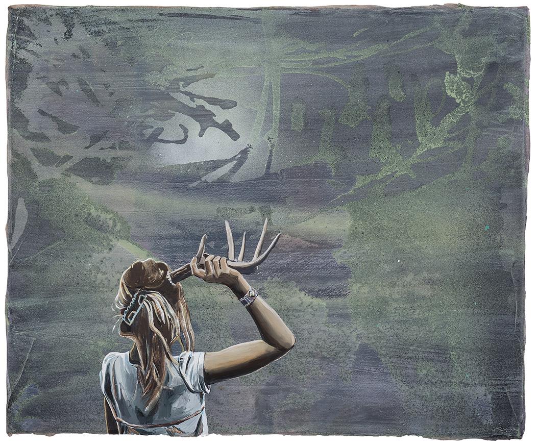 2014 Andrea Damp - Opitschi- oder die entstehung des Rotkehlchens , 50x60