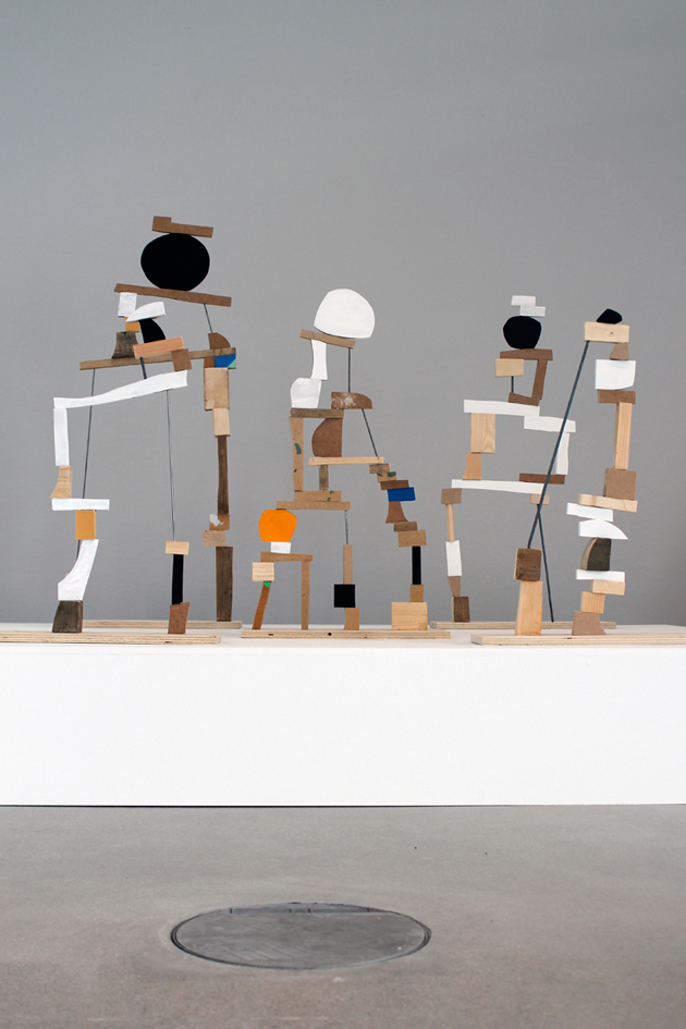 Ekta, Point of Collapse, 2015, wood and metal sculpture