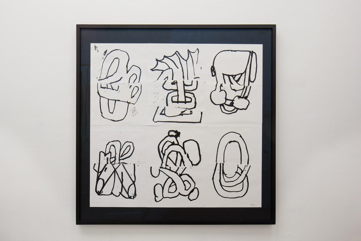 Ekta, Sex Flux, 2017, oil stick & collage on paper, 100 x 100 cm. Photo by David Eng.