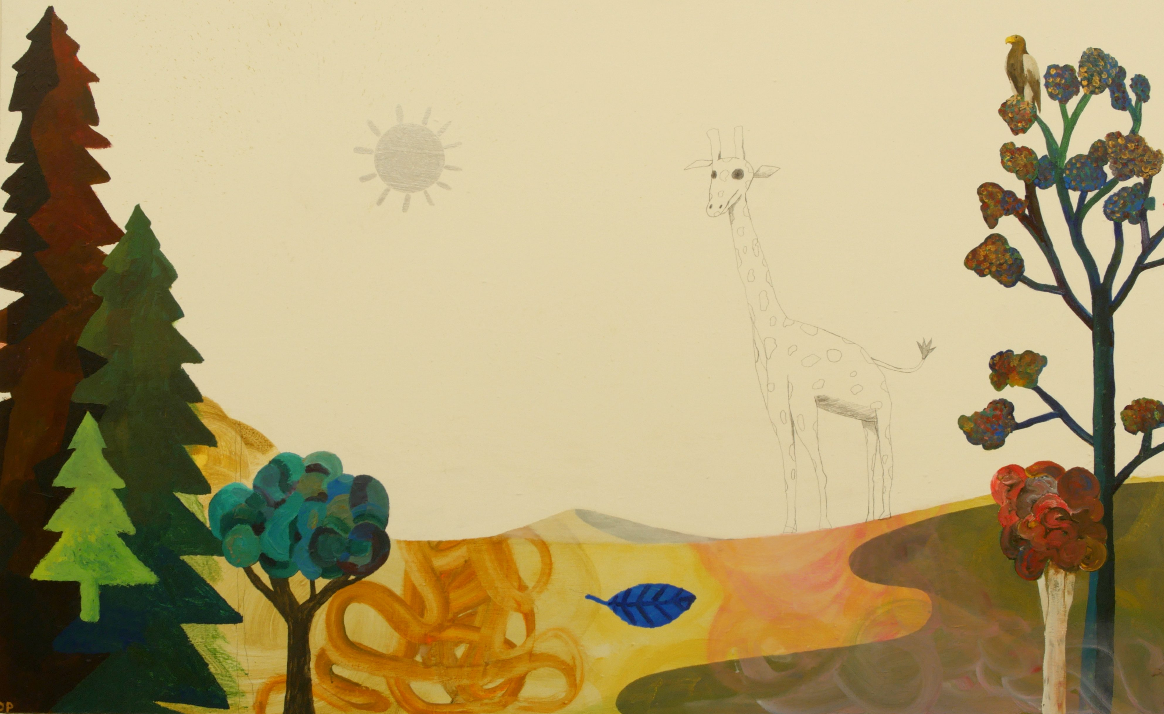 Dan Perrin, The Giraffe and the sun, 2014, oil on panel, 150 x 200 cm