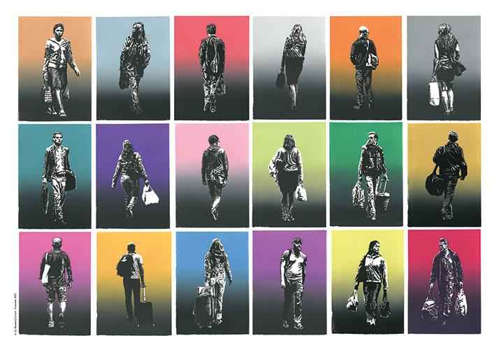 Ola Åstrand, Resenärer, 2016, linocut, 18 portraits, each 29.7 x 21 cm