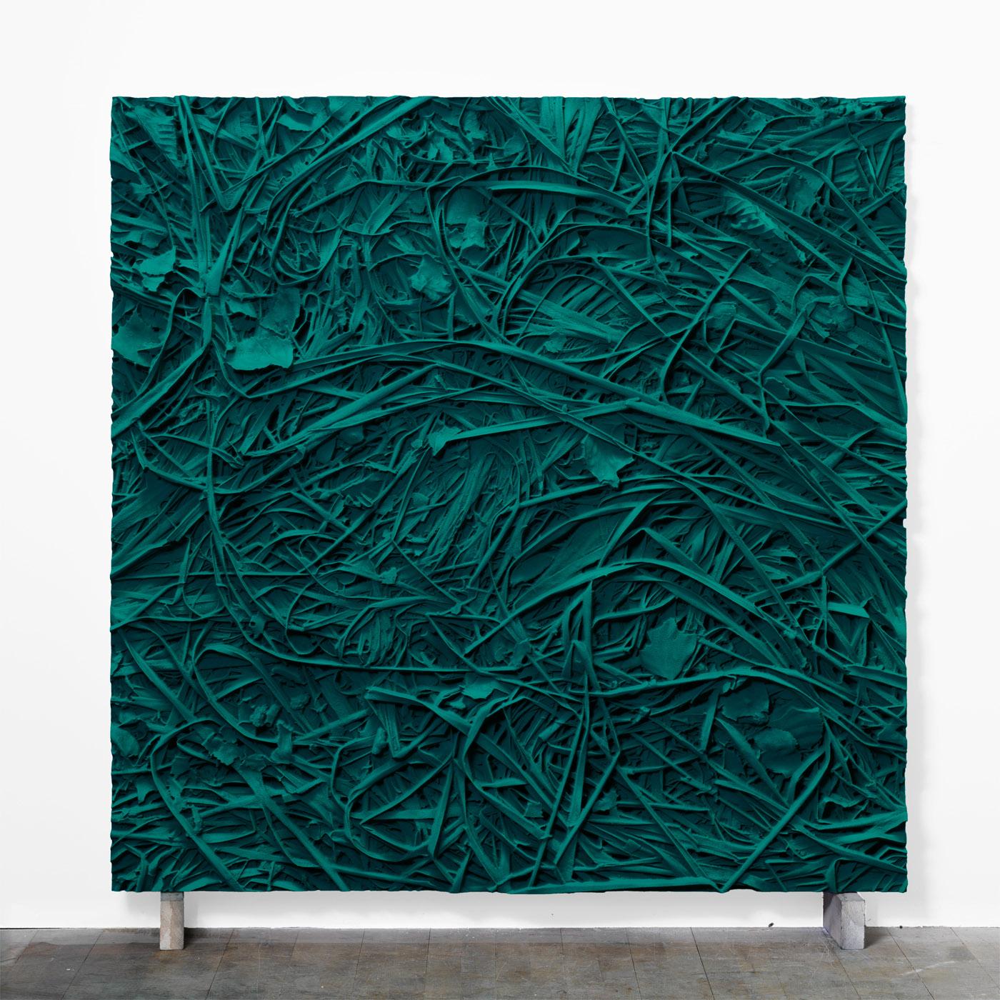 Juri Markkula, PG7 / 18 Grass, 2015, Pigmented polyvinyl on polyuretan relief, 150 x 150 x 11 cm