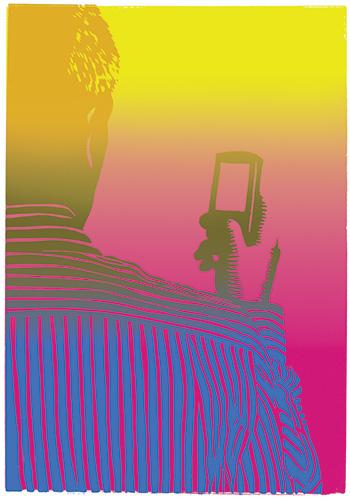 Ola Åstrand, Hamlet, 2015, linocut, 70 x 100 cm