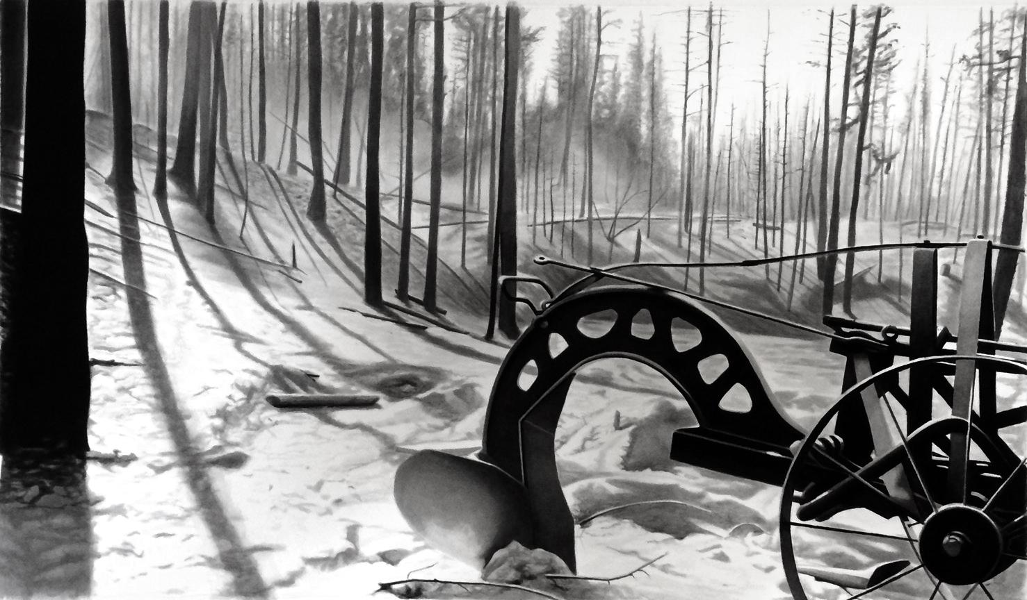 Erik Kihlbaum, Butter Creek Fire, 2015, Ink wash on paper, 40.5 x 69 cm