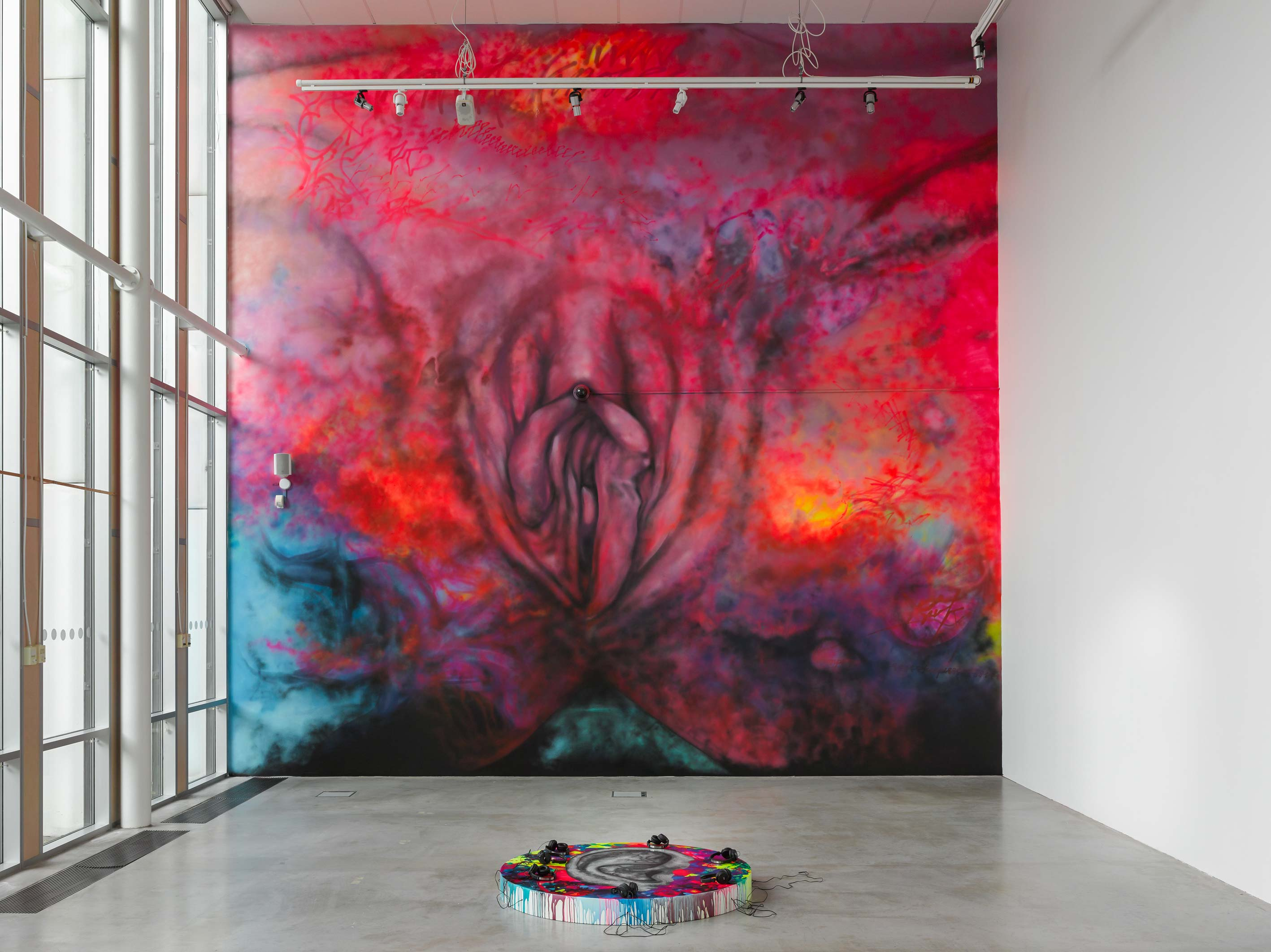 Carolina Falkholt, Ear 2 The Ground, 2016, painting, sculpture and sound installation at Kungälvs Konsthall, Kungälv, Sweden.