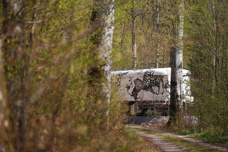 Carolina Falkholt, Train of Thoughts, 2017, installation on train at Wanås Konst, Sweden.
