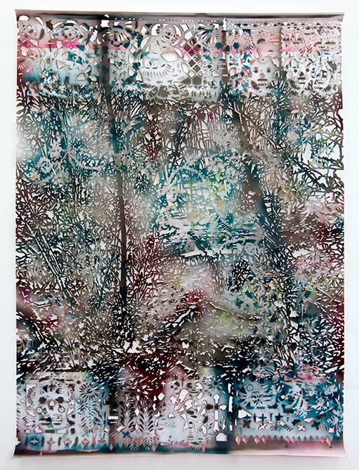Gabriele Basch, buehne VII, 2013, spraypaint on cutout paper, 189 x 133 cm