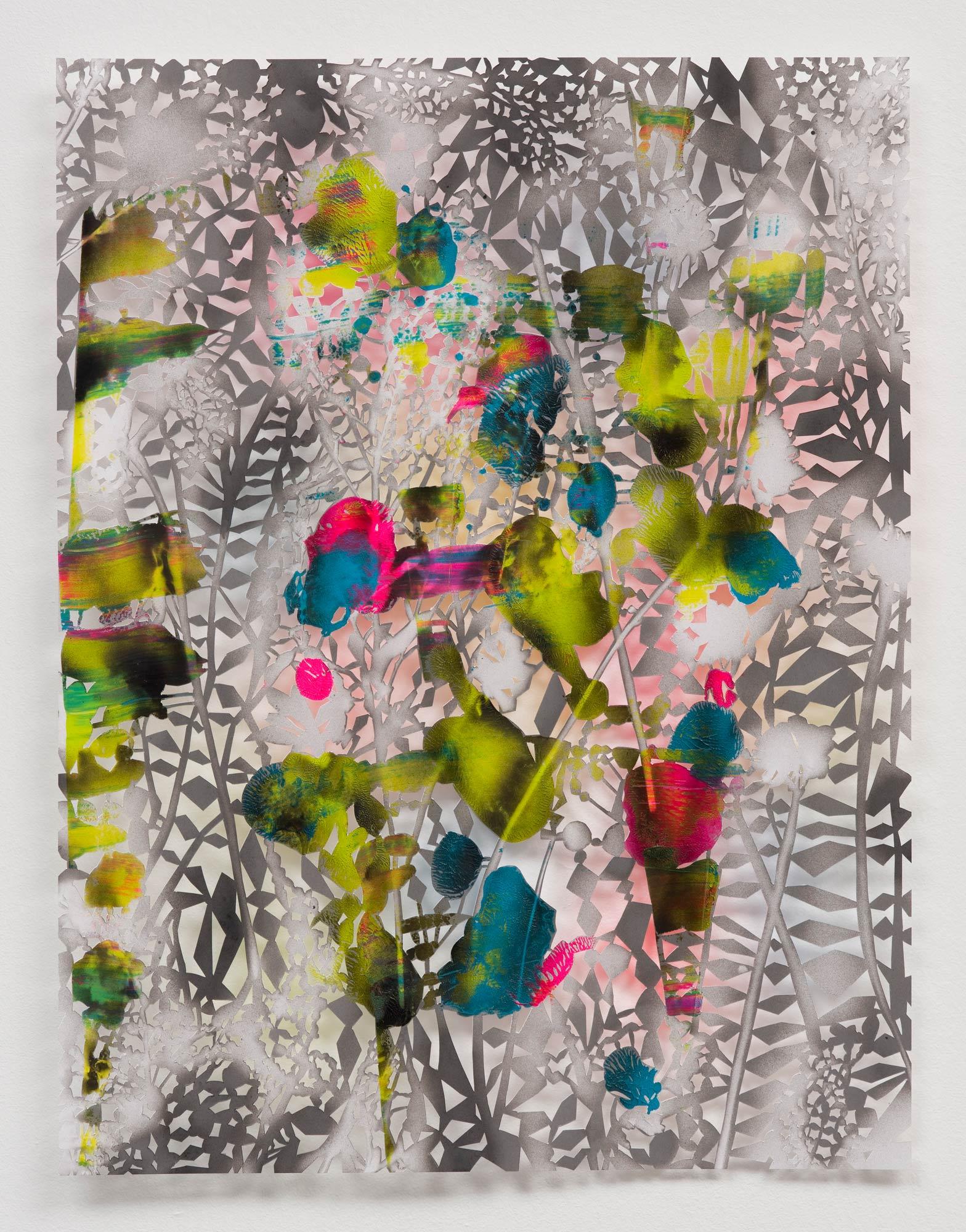 Gabriele Basch, hannahs garden IX, 2017, spraypaint on cutout paper, 65 x 50 cm