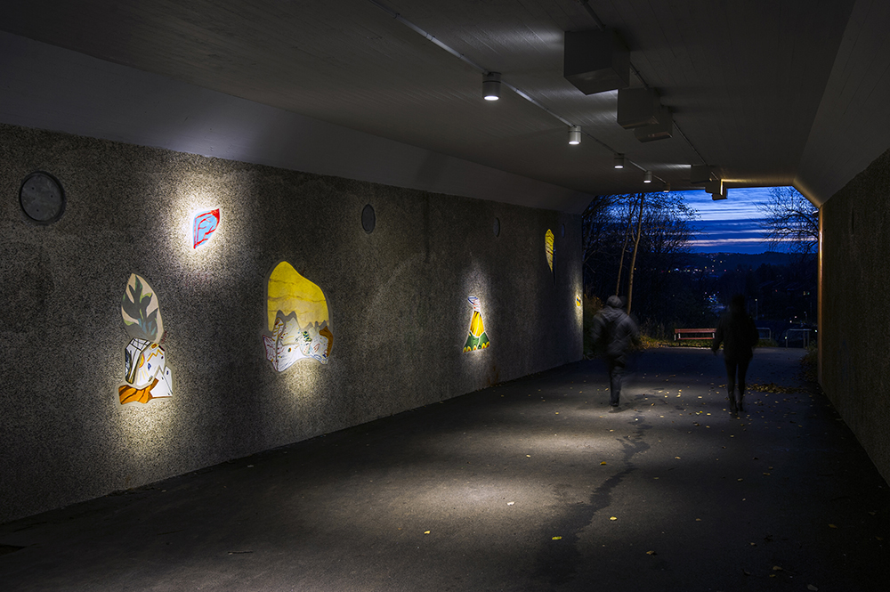 Marie Dahlstrand, Pieces of Sky, Pieces of Time. Ceramics and light in tunnel. Angered, Gothenburg, 2017.