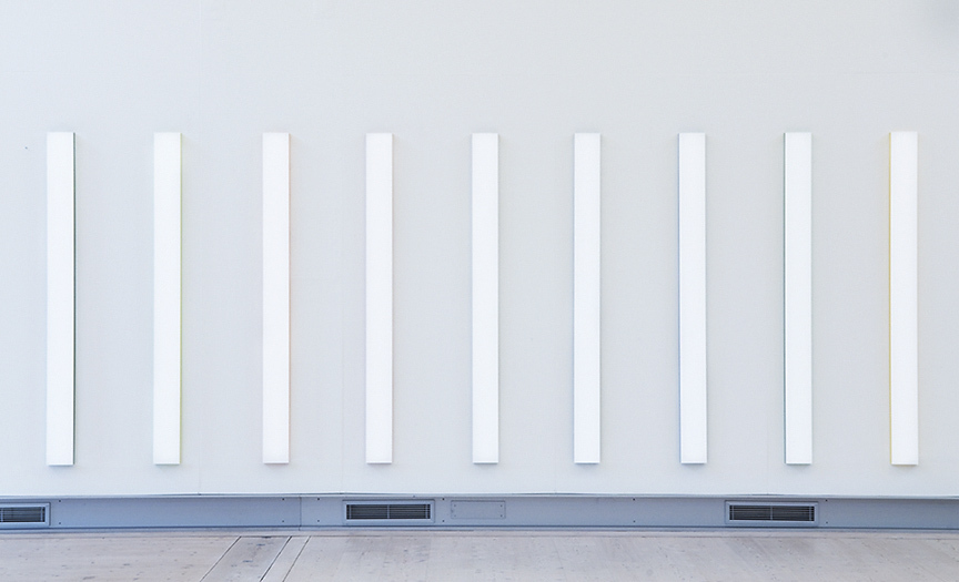 Mikael Fagerlund, White coloured stripes, vinyl acrylic glas, 190 x 570 x 4 cm