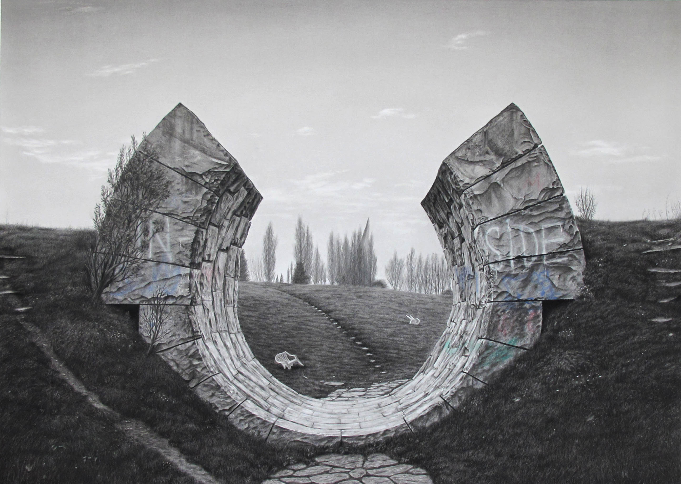 Tommy Sveningsson, Gates of Sun, 2016, charcoal, pastel on paper, 110 x 145 cm