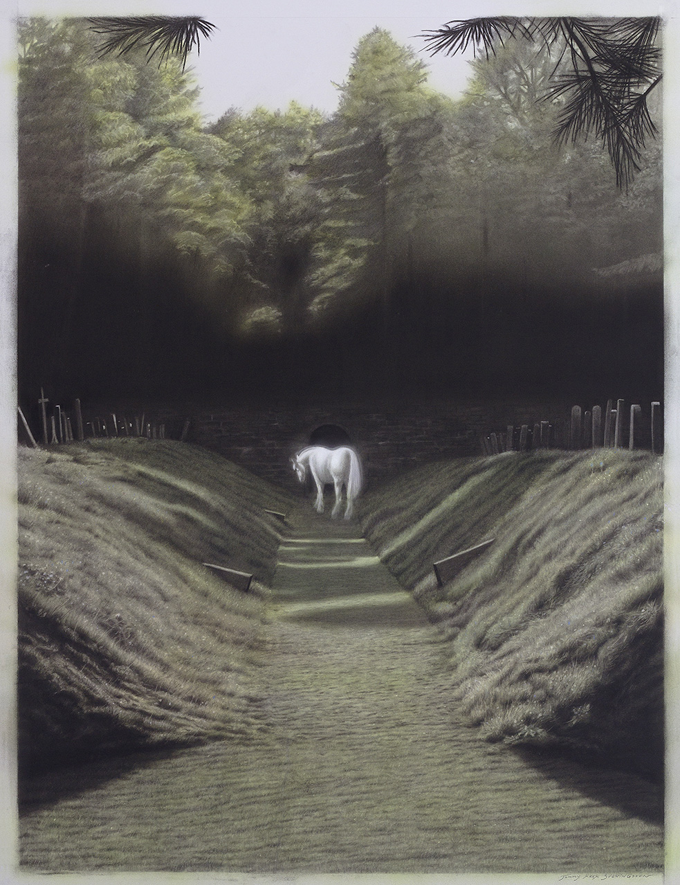 Tommy Sveningsson, Skogskyrkogården, 2016, ink, charcoal on paper, 107 x 81 cm