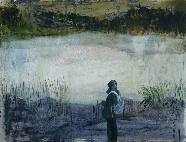 Helmtrud Nyström, Betraktare, 2012, acrylic on paper, 50 x 65 cm