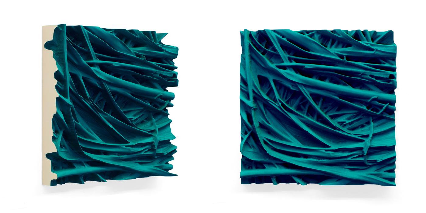 Juri Markkula, PG7 / 18 Grass, 2015, Pigmented polyvinyl on polyuretan relief, 50 x 50 x 13 cm