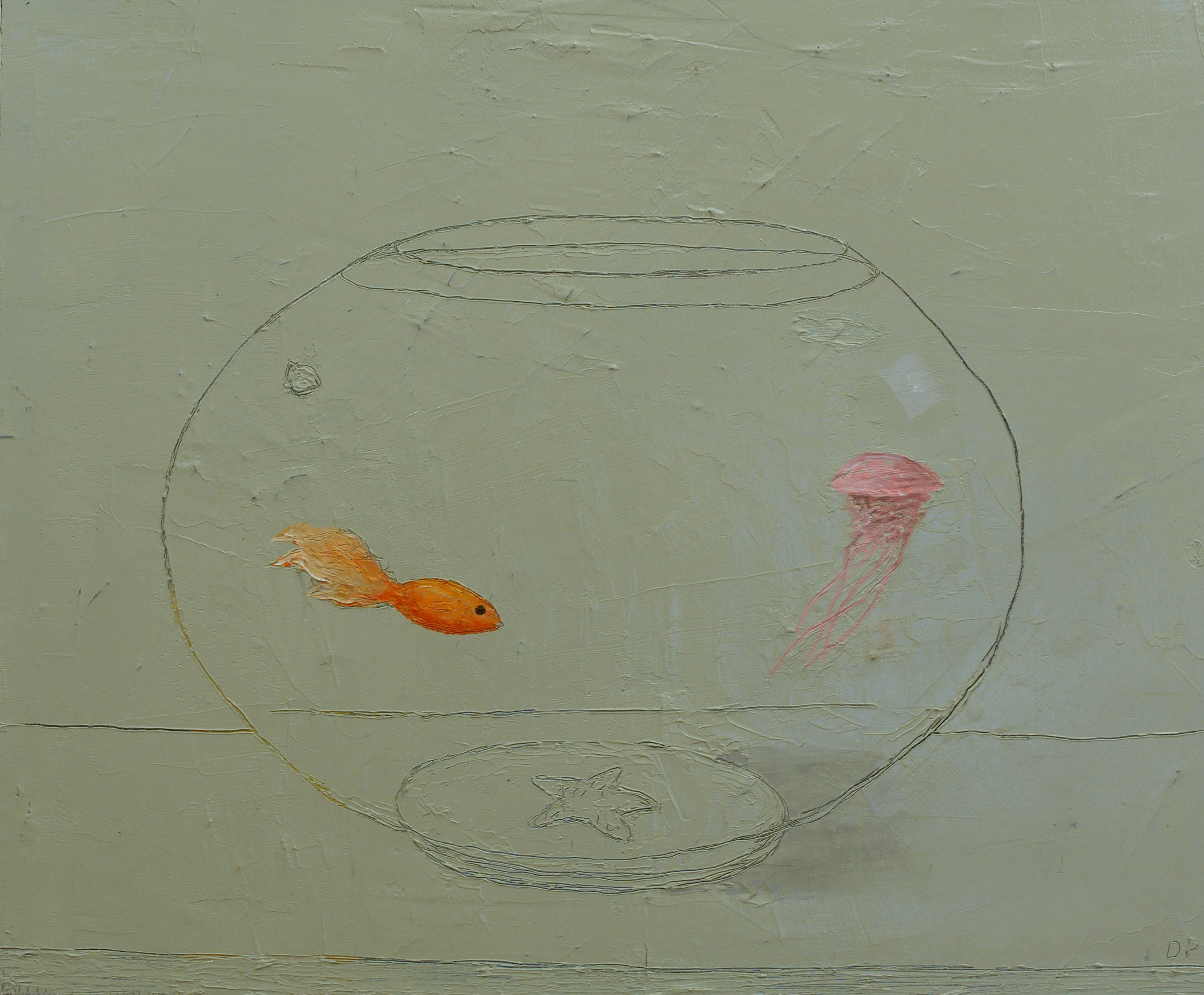Dan Perrin, Aquarium, 2015, oil on panel, 50 x 60 cm