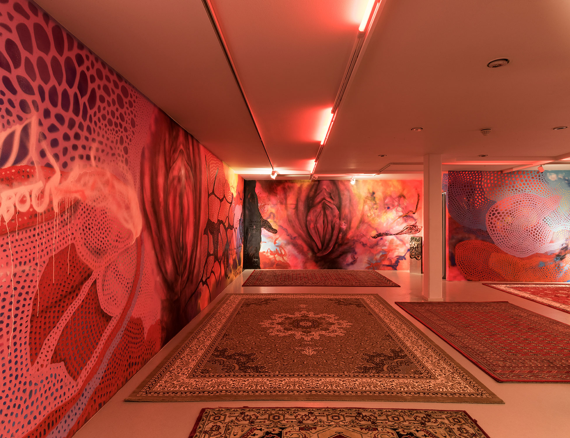 Carolina Falkholt 'Just because I flash my cunt does not mean I want to be raped', 2017, installation, sound, painting, sculpture and textile, Galleri Thomassen.