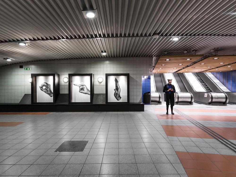 Carolina Falkholt, O R D (WORD), 2016, Public installation at Hammarkullen subway station, Gothenburg, Sweden.