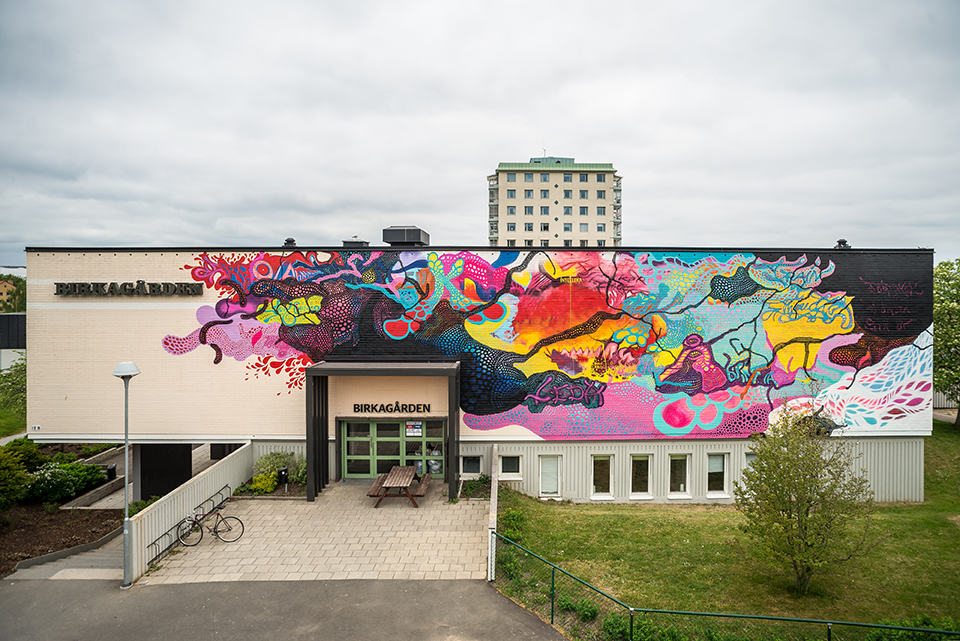 Carolina Falkholt, Untitled wall painting, 2017, public commission for the city of Jönköping, Sweden.