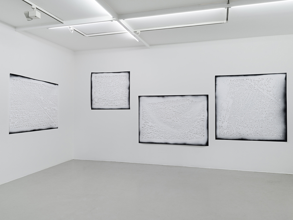 Gabriele Basch, map, 2015, spraypaint on cutout paper, each 133 x 190 cm at Galleri Thomassen