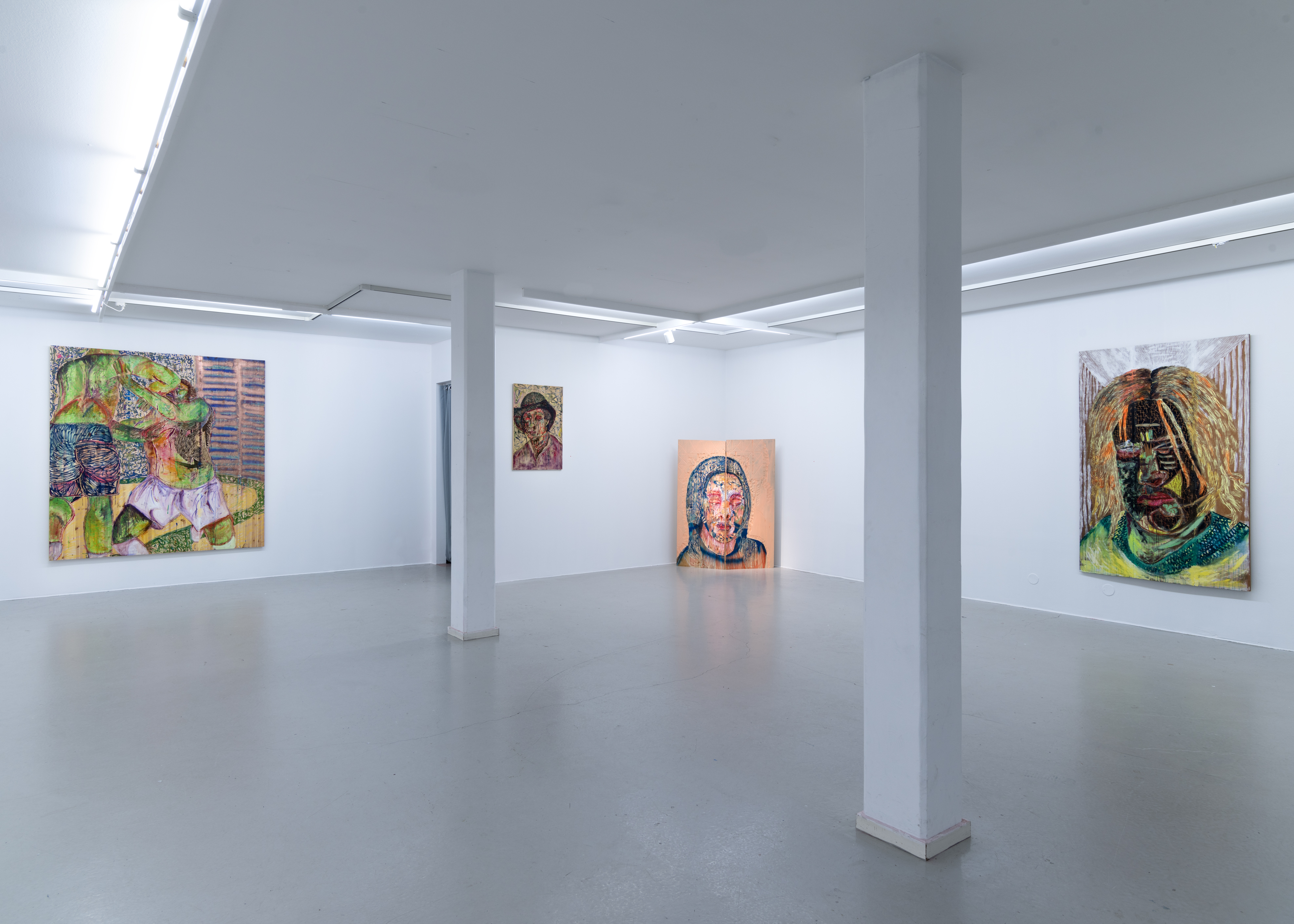 Camilla Vuorenmaa, Installation view, In The Belly of Painting, at Galleri Thomassen, 2017