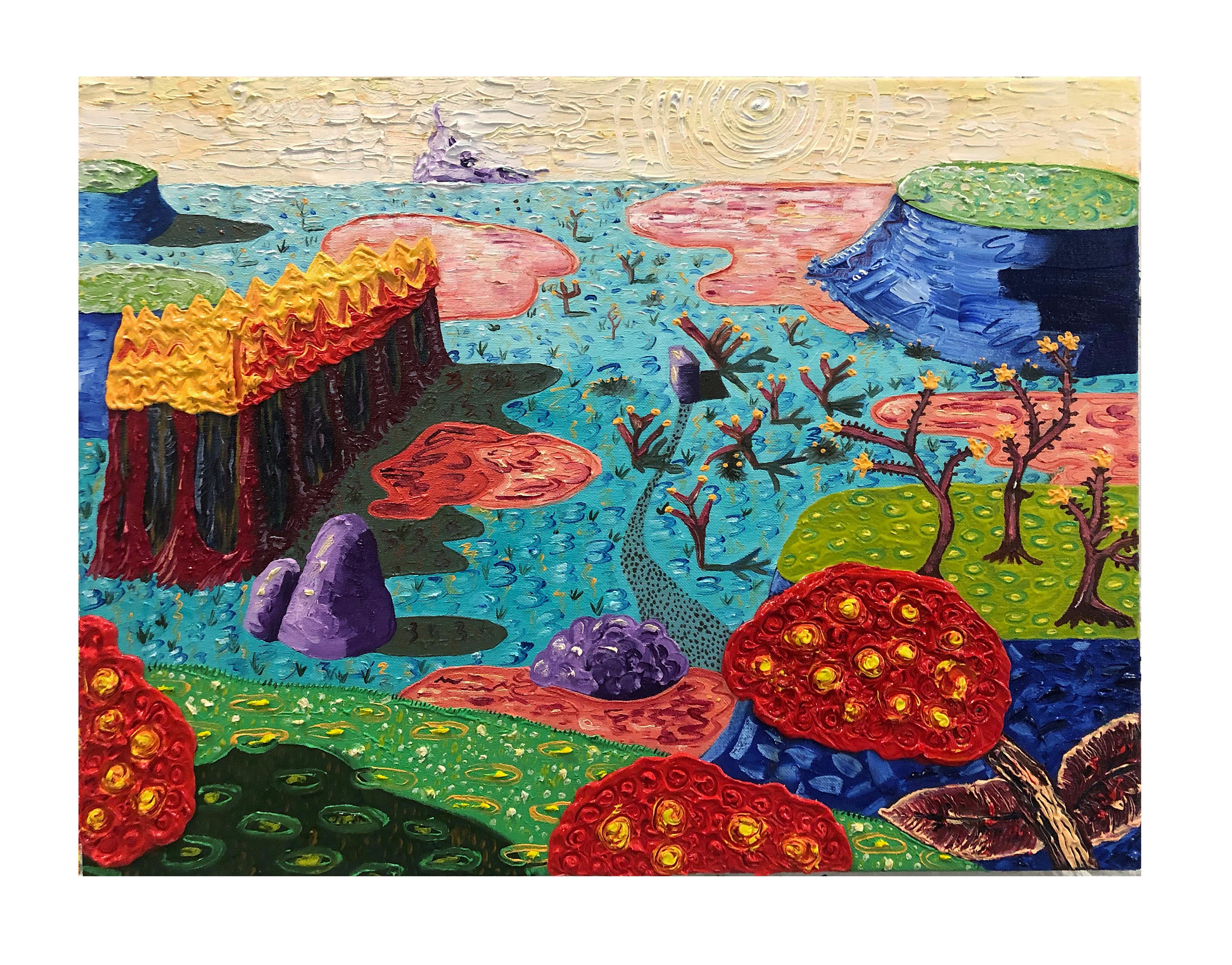 """Landscape 3(blue)"""", 45x65 cm, oil on canvas, 2020"""